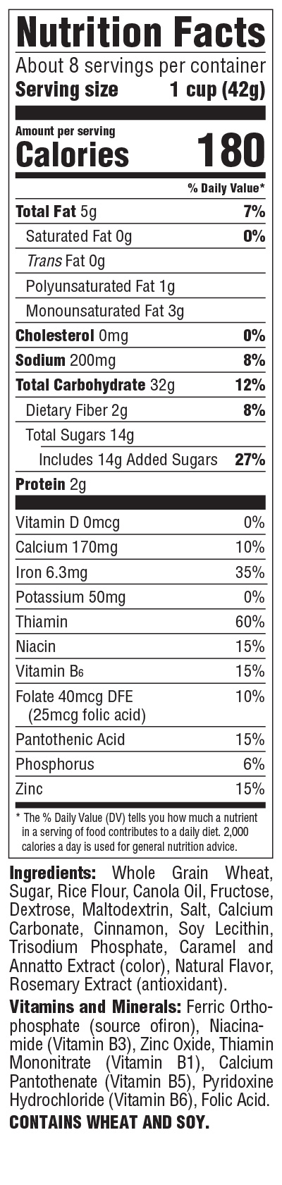Toasted Cinnamon Squares Nutrition Info